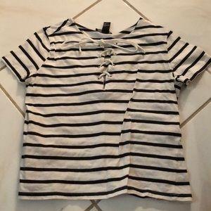 Striped lace up t-shirt